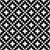Pixel style vector seamless pattern. White black ornaments on white background. Nordic style fabric swatch Stock Images