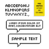 Pixel text bubble and Pixel alphabet. Vector graphics Royalty Free Stock Image