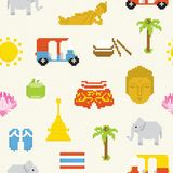 Pixel Thailand seamless vector background Royalty Free Stock Images