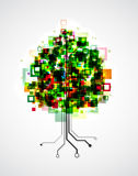 Pixel tree. Concept image of a technology tree, with pixels in the crown and roots formed by semiconductor tracks. EPS10 vector image Stock Photo