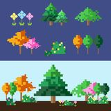 pixel tree and flower set vector illustration