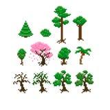 Pixel Trees. Set of pixel art trees Royalty Free Stock Photos