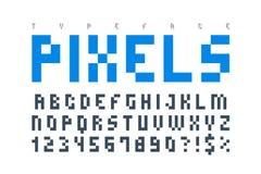 Pixel trendy typeset, simple font, system computer script Stock Photos