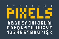 Pixel trendy typeset, simple font, system computer script Royalty Free Stock Photo