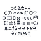 Pixel UI Icons. Pixel art contour, black and white 8-bit icons for website or mobile user interface Vector Illustration