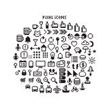 Pixel UI Icons. Large set of pixel art 8-bit icons for a smartphone or web. Weather, pointers, smartphone UI, different transport vehicles and other black and Royalty Free Stock Images