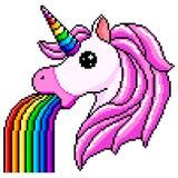 Pixel unicorn pukes rainbow isolated vector. Pixel unicorn pukes rainbow detailed isolated vector stock illustration