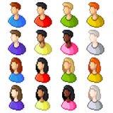 Pixel user icons vector set Stock Photos