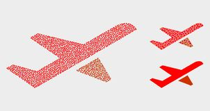Pixel Vector Airplane Takeoff Icons. Pixelated and mosaic airplane takeoff icons. Vector icon of airplane takeoff combined of irregular round elements. Other royalty free illustration