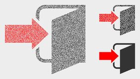 Pixel Vector Exit Door Icons. Dot and mosaic exit door icons. Vector icon of exit door designed of scattered spheric pixels. Other pictogram is designed from royalty free illustration