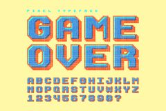 Pixel vector font design, stylized like in 8-bit games. 3d effect, retro-futuristic, game over sign. Swatch color control Stock Images