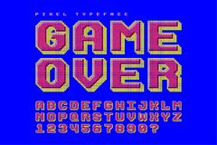 Pixel vector font design, stylized like in 8-bit games. 3d effect, retro-futuristic, game over sign. Swatch color control Stock Photography