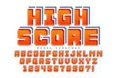 Pixel vector font design, stylized like in 8-bit games. High contrast, retro-futuristic. Easy swatch color control Stock Image