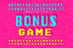 Pixel vector font design, stylized like in 8-bit games. High contrast, retro-futuristic, 2 in 1. Easy swatch color control Stock Photography