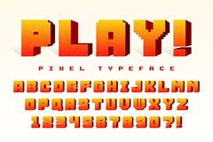 Pixel vector font design, stylized like in 8-bit games. High contrast, retro-futuristic. Easy swatch color control Stock Images