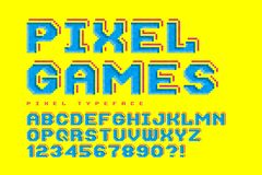Pixel vector font design, stylized like in 8-bit games. High contrast, retro-futuristic, game over sign. Easy swatch color control Stock Photography