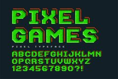Pixel vector font design, stylized like in 8-bit games. High contrast, retro-futuristic, game over sign. Easy swatch color control Royalty Free Stock Images