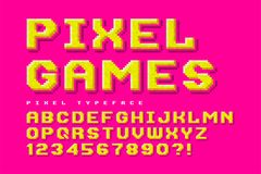 Pixel vector font design, stylized like in 8-bit games. High contrast, retro-futuristic, game over sign. Easy swatch color control Royalty Free Stock Image