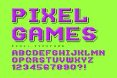 Pixel vector font design, stylized like in 8-bit games. High contrast, retro-futuristic, game over sign. Easy swatch color control Stock Images