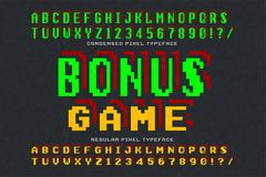 Pixel vector font design, stylized like in 8-bit games. High contrast, retro-futuristic, 2 in 1. Easy swatch color control Stock Photos
