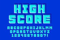Pixel vector font design, stylized like in 8-bit games. High contrast, retro-futuristic. Easy swatch color control Royalty Free Stock Photography