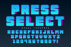 Pixel vector font design, stylized like in 8-bit games. Press select. High contrast, retro-futuristic. Easy swatch color control Royalty Free Stock Photo