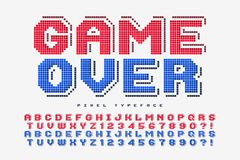 Pixel vector font design, stylized like in 8-bit games. 2 in 1, retro-futuristic, game over sign. Swatch color control Stock Photos