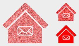 Pixel Vector Post Office Icons. Dot and mosaic post office icons. Vector icon of post office formed of scattered round items. Other pictogram is formed from stock illustration