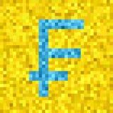 Pixel vector frank symbol. Pixel vector quadratic grid illustration - low-poly light blue frank symbol on yellow background Royalty Free Stock Photos