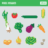 Pixel vegetable game icon set Stock Image