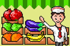 Pixel vegetable seller. Vector illustration background in the style of 8-bit games - pixel art. Seller in the form of selling vegetables and fruits. Vegetarian Vector Illustration