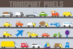 Pixel Vehicle. Easy to edit vector illustration of pixel vehicle stock illustration