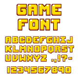 Pixel videogame font. Pixel video game font. 8-bit symbols, letters and numbers. Oldschool retro nostalgic typeface Royalty Free Stock Photography