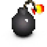 Pixel vintage cartoon style pirate bomb on white Royalty Free Stock Photography