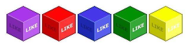 Pixel-Würfel mögen Social Media Stockbilder