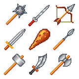 Pixel weapons for games icons vector set Royalty Free Stock Photo
