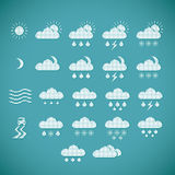 Pixel weather icons on blue background Stock Photography