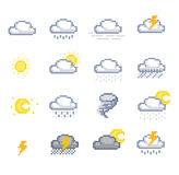 Pixel Weather Icons Royalty Free Stock Photo