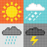 Pixel Weather Symbols. 4 weather symbols in pixel form: Sun, Snow, Rain, Lightning vector illustration