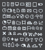 Pixel web icons collection. 70 pixel web icons collection stock illustration