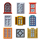 Pixel windows for games icons vector set Royalty Free Stock Images