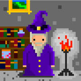 Pixel wizard. And magic books stock illustration