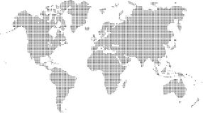 Pixel world map Stock Images
