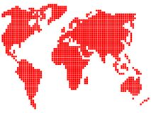 Pixel world map Stock Photos