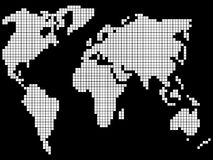 Pixel world map Stock Photography