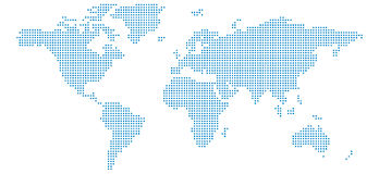 Pixel World Map. The World Map made up of squares Stock Photo