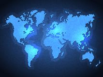 Pixel World Map with Spot Lights Stock Photo