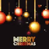 Pixel Xmas Balls for Merry Christmas celebration. Stock Photo