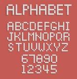 Pixelalfabet van getallen en letters Royalty-vrije Stock Afbeeldingen