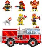 PixelArt: Feuerwehrmänner Lizenzfreies Stockbild